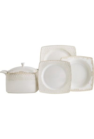 Güral Porselen Güral 61 Parça Carolıne Kare Bone Yemek Takımı