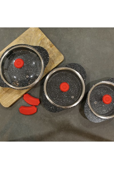 Fecra 6 Parça Cam Kapaklı Granit Sahan Seti