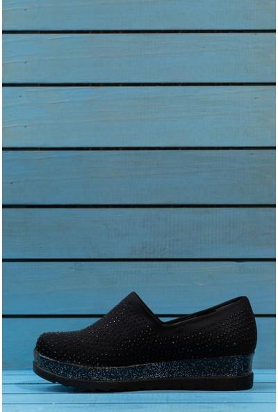 Papuç Simli Yüksek Esnek Rahat Dolgu Taban Taşlı Yürüyüş Ayakkabı