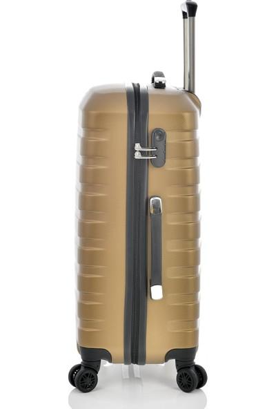 Ehs 1EH10601 Unisex 4 Tekerlekli Orta Boy Valiz Bronz