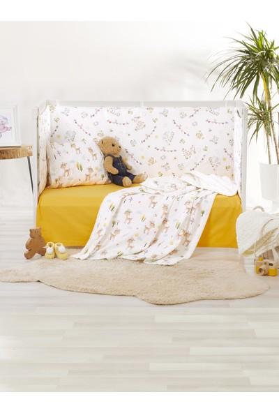 Bade Tasarım Bambi Desenli Sarı Bebek Polar Battaniye Takımı