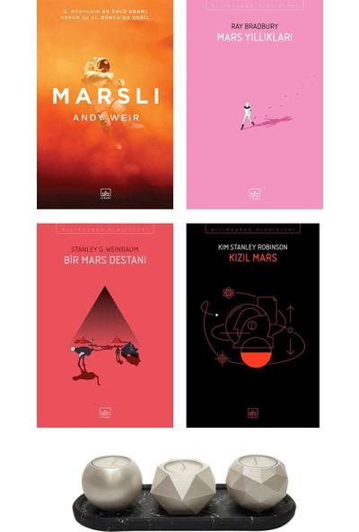 Marslı - Andy Weir + Mars Yıllıkları - Ray Bradbury + Bir Mars Destanı - Stanley G. Weinbaum + Kızıl Mars - Kim Stanley Robinson + Betonsu Tasarım Tealight Mumluk Seti