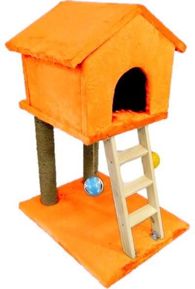 Süngerli Oyuncaklı Merdivenli Turuncu/orange Kedi Tırmalama Evi