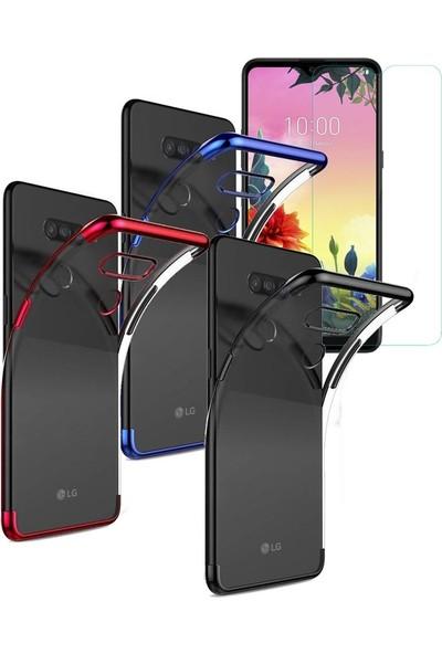 SmartBerry LG K50S Kılıf Silikon Dört Köşe Lazer Şaffaf + Cam Ekran Koruyucu - Siyah