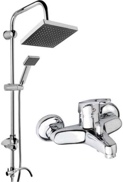 Guadro Armatür Banyo Musluğu Çeşmesi Bataryası ve Krom Robot Duş Sistemi Set Takım