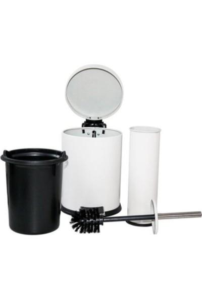 My Wood Banyo Seti 2'li Çöp Kovası & Klozet Fırçası Beyaz