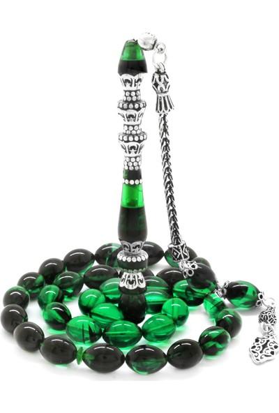 HepNaturel 925 Ayar Gümüş Püsküllü Gümüş Minare Nakkaş Imameli Yeşil Ateş Kehribar Tesbih