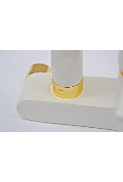 Guadro Armatür Beyaz Gold Duvardan Mutfak Musluğu Çeşmesi Bataryası