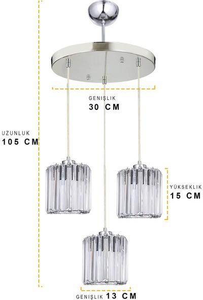 Taşcan Aydınlatma Hilton Kristal 3 Lü Tepsili Sarkıt Krom Avize