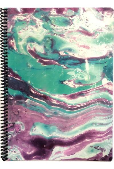 Fly Color Art Style 80 Yaprak Kareli Plastik Kapaklı Spiralli Defter