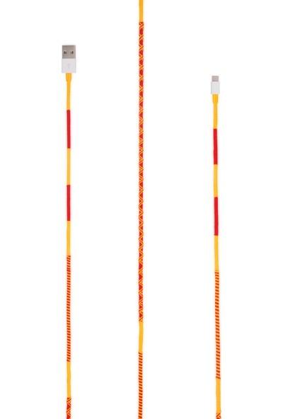 Hippi Taraftar Sarı - Kırmızı Type-C Yüksek Hızlı El Örgüsü 1 Metre Şarj ve Data Kablosu