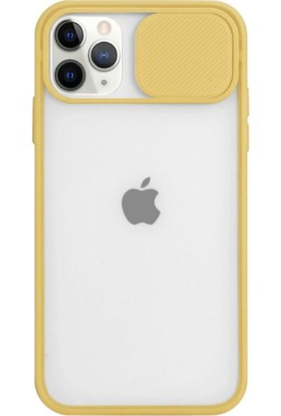 Gaga Apple iPhone 12 Mini Slayt Lens Korumalı Darbeye Dayanıklı Silikon Arka Kapak Sarı