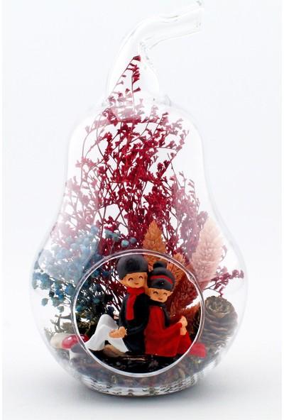 Burdan Eve Teraryum Mini Cam Armut Sırt Sırta Sevgili Temalı Kırmızı