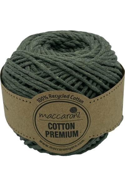Maccaroni Cotton Tek Büküm Tarama Makrome Hobi Ipi 100 gr 85 m 2 mm Haki