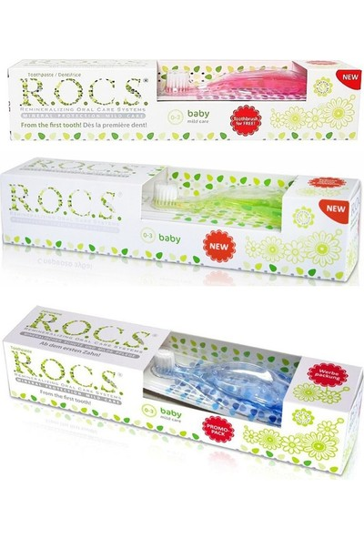 Rocs Baby Extra Yumuşak Diş Fırçası ve Diş Macunu Seti (0-3 Yaş)