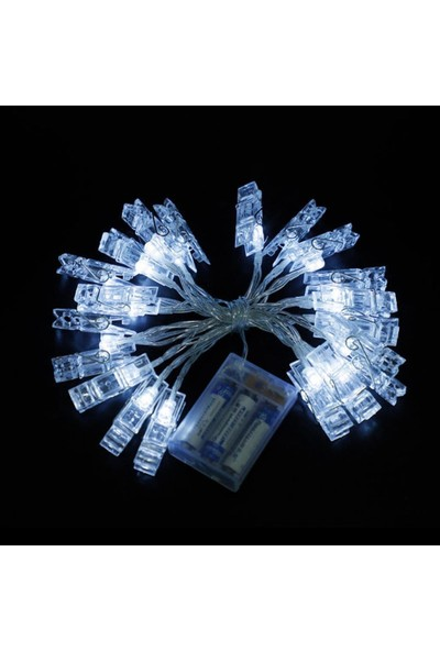 Taled Dekoratif Mandallı Ip LED Işık 3 Metre 20 Mandallı Pilli Işık