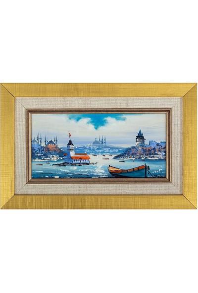 Panoramik Istanbul Temalı 18 x 28 cm Yağlı Boya Tablo