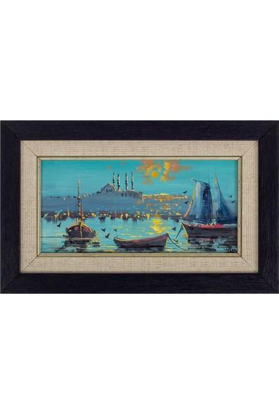 Panoramik Istanbul Temalı 17 x 27 cm Yağlı Boya Tablo