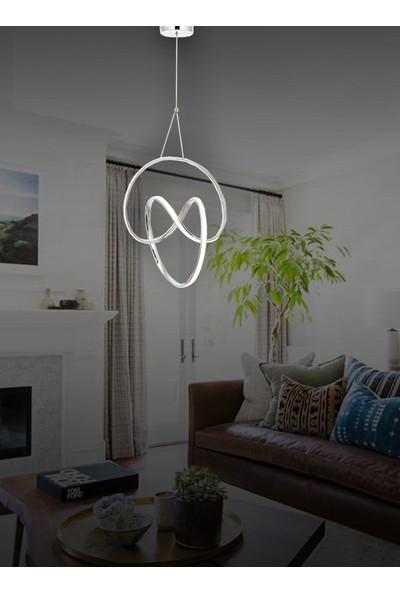 Luna Lighting Modern LED Avize Sarkıt Ledli Avize Krom