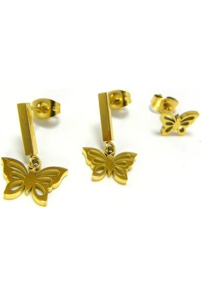 Bijuta Çelik Üstüne Altın Kaplama 3 Lü Kelebek Küpe Seti
