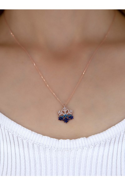 Bess Silver Kadın 925 Ayar Gümüş Mavi Taşlı Rose Kaplama Kartanesi Kolye