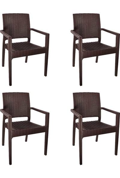 Romanoset Plastik Romanoset Terra Rattan Kollu Sandalye 4 Lü Set