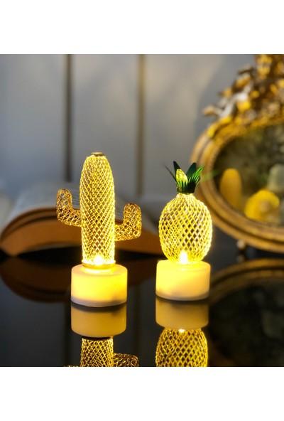 Ziphida Mini Kaktüs ve Ananas LED Gece Lambası Masa Lambası