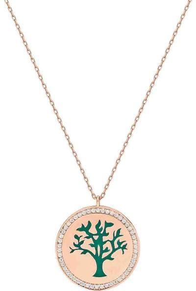 Bulvardi Hayat Ağacı Gümüş Kolye Taşlı Mineli Büyük - Yeşil - Standart - AXEL0020-2249