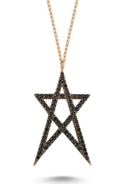 Bulvardi Taşlı Star Madalyon Kolye - Siyah - Standart