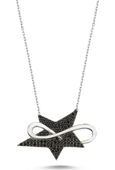 Bulvardi Sonsuzluk Star Gümüş Taşlı Kolye - Rose - Standart - ADA0026-1687
