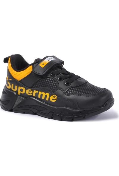 Lafonten 675 Siyah - Sarı Çocuk Spor Ayakkabı