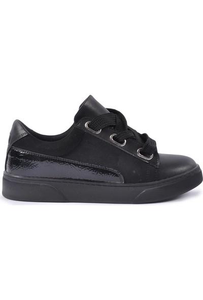 Park Moda 1040 Siyah - Süet - Rugan Kadın Spor Ayakkabı