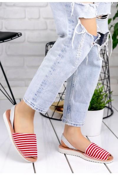 Erbilden Samiye Kırmızı Beyaz Çizgili Sandalet