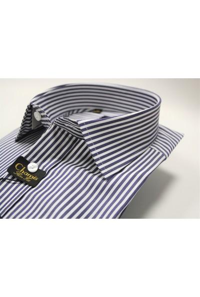 Slimfit Lacivert Çizgili Klasik Yaka Gömlek