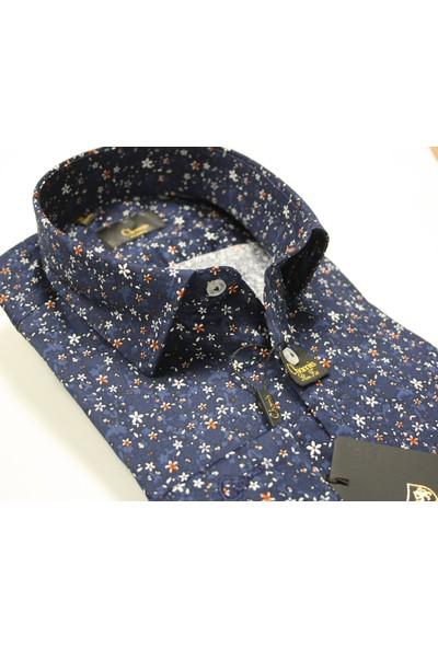 Slimfit Lacivert Çiçek Desenli Klasik Yaka Gömlek