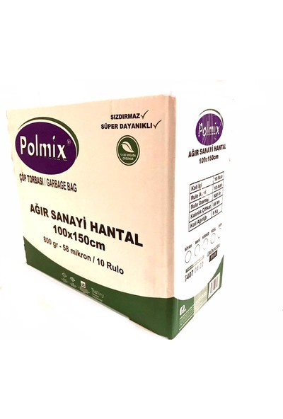 Polmix Çöp Torbası Polmix Ağır Sanayi Hantal Boy 800 gr 100 x 150 58 Mikron Siyah 1 Paket