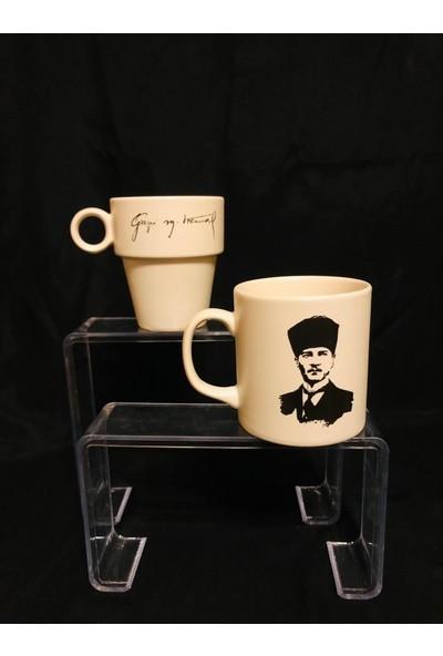 Keramika Atatürk Baskılı Ikili Kupa