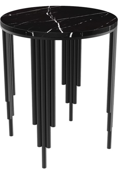 Maksa Mimarlık Carmela Alexandrette Black Mermer Metal Üzeri Mat Siyah Statik Boyalı Yan Sehpa