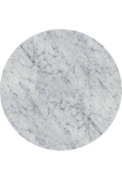 Maksa Mimarlık Nilda Carrara White Mermer Satine Paslanmaz Yan Sehpa