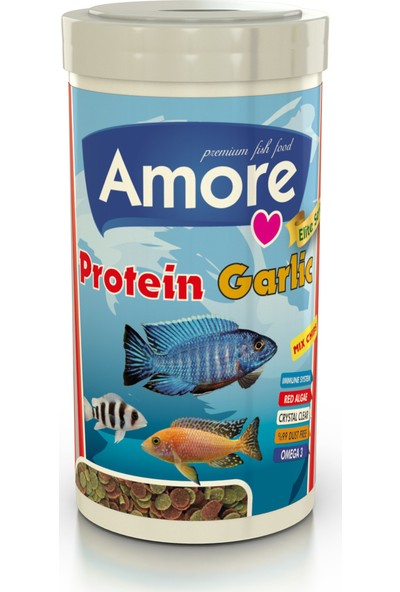 Amore Protein Garlic Pro Mix Chips 250 ml Algae Clear Immune Protect Akvaryum Balık Yemi