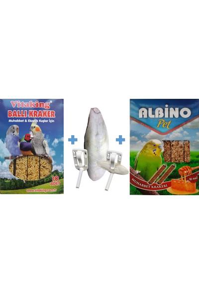 Vitaking + Albino 10LU Box Muhabbet Kuş Ballı Kraker + Organik Mürekkep Balığı Kalamar Kemiği 30G