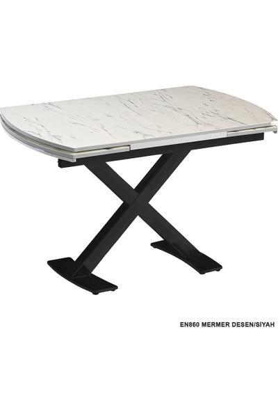 Enzi EN860 Mermer Desenli Mutfak Masası - Siyah Ayaklı