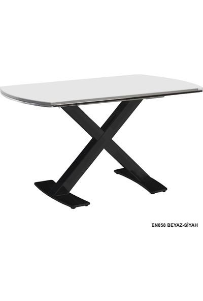 Enzi EN858 Beyaz Mutfak Masası - Siyah Ayaklı