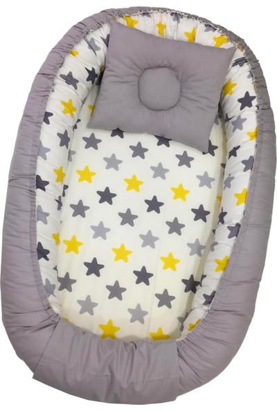 Berababy Renkli Yıldız Model Kılıflı ve Fermuarlı Babynest Bebek Yuvası
