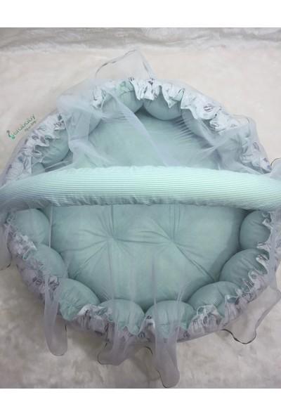 Berababy Uçan Balon Mint Model Cibinlikli Oyun Minderi ve Oyun Yatağı