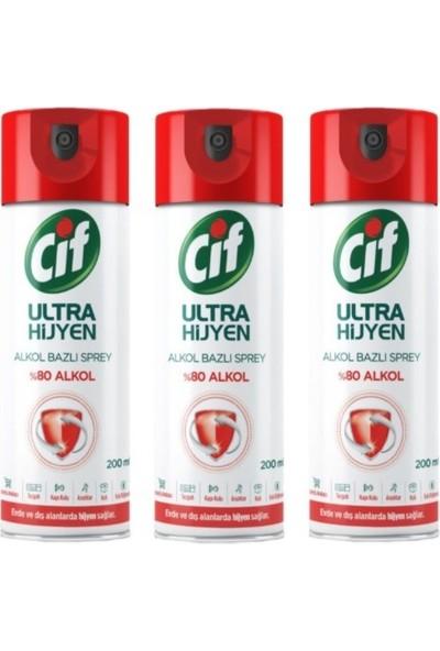 Cif Ultra Hijyen Alkol Bazlı Sprey 200 ml 3lü Set
