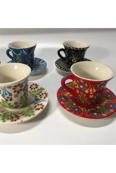 İlbay Çini Takı Çini Seramik Kahve Fincanı Takımı Karışık Renk 6 Lı
