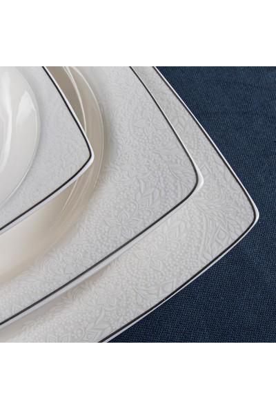 Güral Porselen Güral 85 Parça Carolıne Kare Bone Yemek Takımı