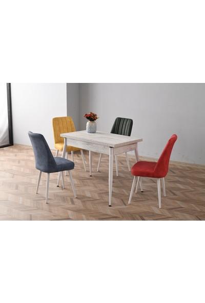 Yıldız Mobilya ve Aksesuar Dolunay Antik Beyaz Masa Nil Sandalye(Renkli)