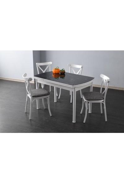 Yıldız Mobilya ve Aksesuar Oval Büyüyen Siyah Mermer Masa Beyaz Bahar Sandalye